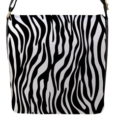 Zebra Stripes Pattern Traditional Colors Black White Flap Messenger Bag (s) by EDDArt