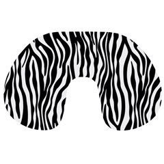 Zebra Stripes Pattern Traditional Colors Black White Travel Neck Pillows by EDDArt