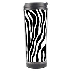 Zebra Stripes Pattern Traditional Colors Black White Travel Tumbler by EDDArt