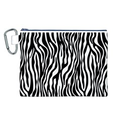 Zebra Stripes Pattern Traditional Colors Black White Canvas Cosmetic Bag (l) by EDDArt