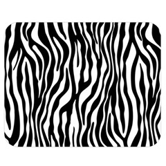 Zebra Stripes Pattern Traditional Colors Black White Double Sided Flano Blanket (medium)  by EDDArt
