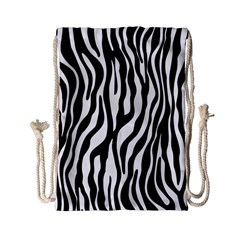 Zebra Stripes Pattern Traditional Colors Black White Drawstring Bag (small) by EDDArt