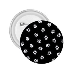 Footprints Dog White Black 2 25  Buttons by EDDArt