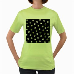 Footprints Dog White Black Women s Green T Shirt by EDDArt