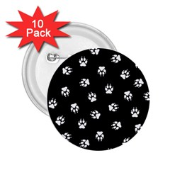 Footprints Dog White Black 2 25  Buttons (10 Pack)  by EDDArt