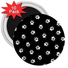Footprints Dog White Black 3  Magnets (10 Pack)  by EDDArt