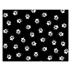 Footprints Dog White Black Rectangular Jigsaw Puzzl by EDDArt