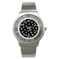 Footprints Dog White Black Stainless Steel Watch by EDDArt