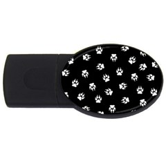Footprints Dog White Black Usb Flash Drive Oval (4 Gb) by EDDArt