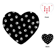 Footprints Dog White Black Playing Cards (heart)  by EDDArt