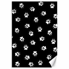 Footprints Dog White Black Canvas 12  X 18   by EDDArt
