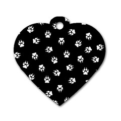 Footprints Dog White Black Dog Tag Heart (one Side) by EDDArt