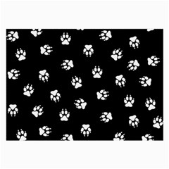 Footprints Dog White Black Large Glasses Cloth (2 Side) by EDDArt