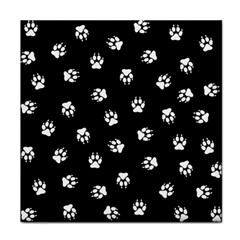 Footprints Dog White Black Face Towel by EDDArt