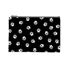 Footprints Dog White Black Cosmetic Bag (large)  by EDDArt