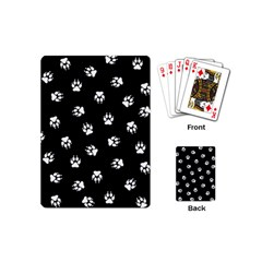 Footprints Dog White Black Playing Cards (mini)  by EDDArt
