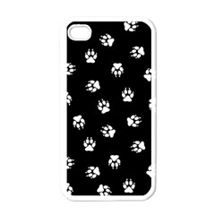 Footprints Dog White Black Apple Iphone 4 Case (white) by EDDArt
