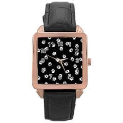 Footprints Dog White Black Rose Gold Leather Watch  by EDDArt