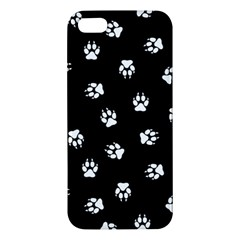Footprints Dog White Black Apple Iphone 5 Premium Hardshell Case by EDDArt