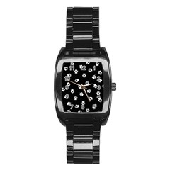 Footprints Dog White Black Stainless Steel Barrel Watch by EDDArt