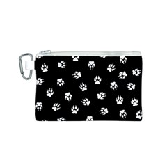Footprints Dog White Black Canvas Cosmetic Bag (s) by EDDArt