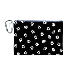 Footprints Dog White Black Canvas Cosmetic Bag (m) by EDDArt