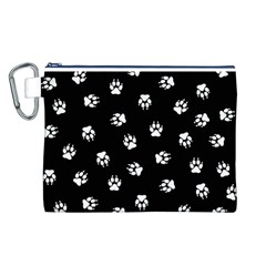 Footprints Dog White Black Canvas Cosmetic Bag (l) by EDDArt