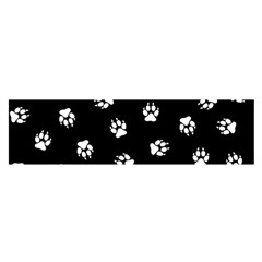 Footprints Dog White Black Satin Scarf (oblong) by EDDArt