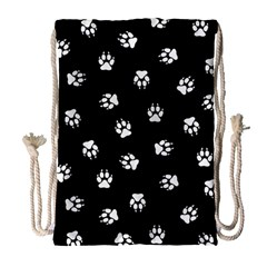 Footprints Dog White Black Drawstring Bag (large) by EDDArt
