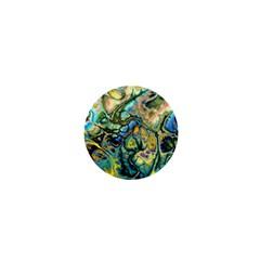 Flower Power Fractal Batik Teal Yellow Blue Salmon 1  Mini Buttons by EDDArt