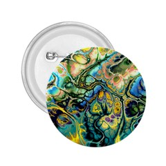 Flower Power Fractal Batik Teal Yellow Blue Salmon 2 25  Buttons by EDDArt