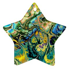 Flower Power Fractal Batik Teal Yellow Blue Salmon Ornament (star) by EDDArt
