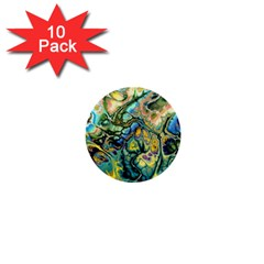 Flower Power Fractal Batik Teal Yellow Blue Salmon 1  Mini Buttons (10 Pack)  by EDDArt