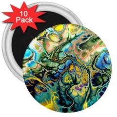 Flower Power Fractal Batik Teal Yellow Blue Salmon 3  Magnets (10 Pack)  by EDDArt