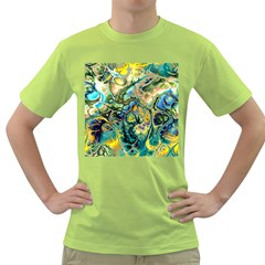 Flower Power Fractal Batik Teal Yellow Blue Salmon Green T Shirt by EDDArt