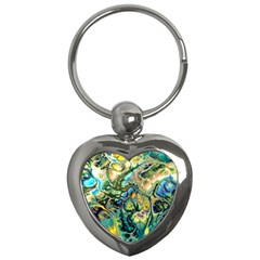 Flower Power Fractal Batik Teal Yellow Blue Salmon Key Chains (heart)  by EDDArt