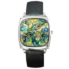 Flower Power Fractal Batik Teal Yellow Blue Salmon Square Metal Watch by EDDArt
