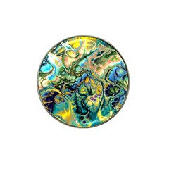 Flower Power Fractal Batik Teal Yellow Blue Salmon Hat Clip Ball Marker by EDDArt