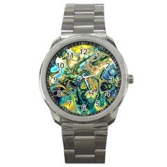 Flower Power Fractal Batik Teal Yellow Blue Salmon Sport Metal Watch by EDDArt