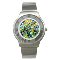 Flower Power Fractal Batik Teal Yellow Blue Salmon Stainless Steel Watch by EDDArt