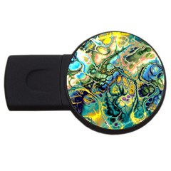 Flower Power Fractal Batik Teal Yellow Blue Salmon Usb Flash Drive Round (4 Gb) by EDDArt