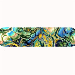 Flower Power Fractal Batik Teal Yellow Blue Salmon Large Bar Mats by EDDArt