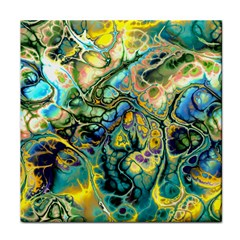 Flower Power Fractal Batik Teal Yellow Blue Salmon Face Towel by EDDArt