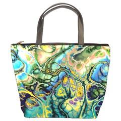 Flower Power Fractal Batik Teal Yellow Blue Salmon Bucket Bags by EDDArt