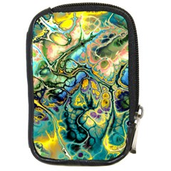 Flower Power Fractal Batik Teal Yellow Blue Salmon Compact Camera Cases by EDDArt