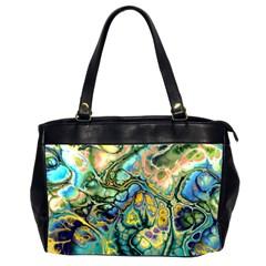 Flower Power Fractal Batik Teal Yellow Blue Salmon Office Handbags (2 Sides)  by EDDArt