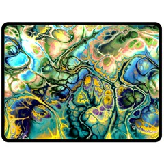 Flower Power Fractal Batik Teal Yellow Blue Salmon Fleece Blanket (large)  by EDDArt