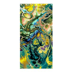 Flower Power Fractal Batik Teal Yellow Blue Salmon Shower Curtain 36  X 72  (stall)  by EDDArt
