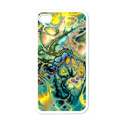 Flower Power Fractal Batik Teal Yellow Blue Salmon Apple Iphone 4 Case (white) by EDDArt