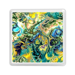 Flower Power Fractal Batik Teal Yellow Blue Salmon Memory Card Reader (square)  by EDDArt